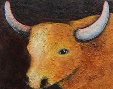 Kuh 2, 2015, 40x50cm, Mischtechnik auf Leinwand