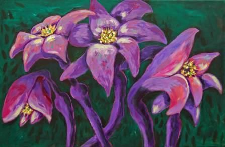 Lila Blüten, 2011, 60x100cm, Acryl auf Leinwand