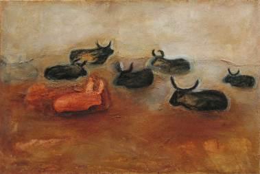 Tiere in Landschaft, 2005, 67x100cm, Mischtechnik auf Leinwand