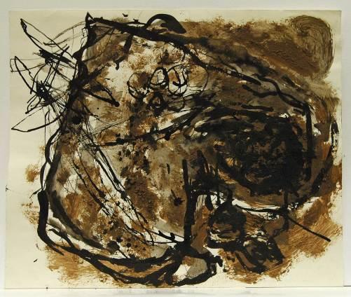 Zeichnung Erde 3, 1988, Erde, Tusche auf Karton