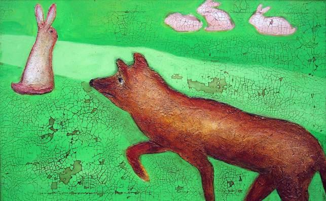 Fuchsjagd, 2005, 57x90cm, Mischtechnik auf Leinwand