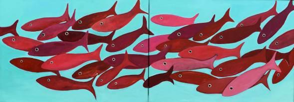 Roter Schwarm, 2014, 50x140cm, Acryl auf Leinwand