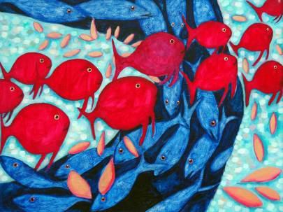 Schwärme kreuzen 1, 2007, 76x100cm, Mischtechnik auf Leinwand