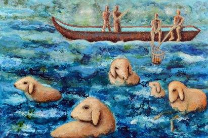 Alle in einem Boot - Schafe im Meer 2, 2019, 90x135cm, Mischtechnik auf Leinwand