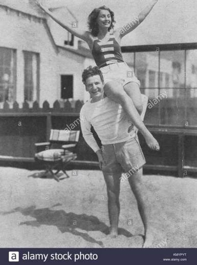 Barbara Stanwyck Biography: With Frank Fay at their Malibu home, during their early years in Hollywood