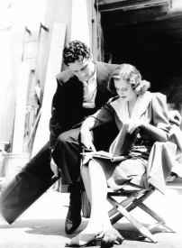 Stanwyck going over Golden Boy script with William Holden