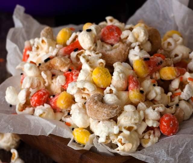 Irresistible Candy Corn Popcorn From Barbara Bakes