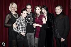 Lo staff misterico. Da sinistra: Serena F., Camilla, l'illustratore Paolo Barbieri, BB, Nico e Gianfranco Grotesque