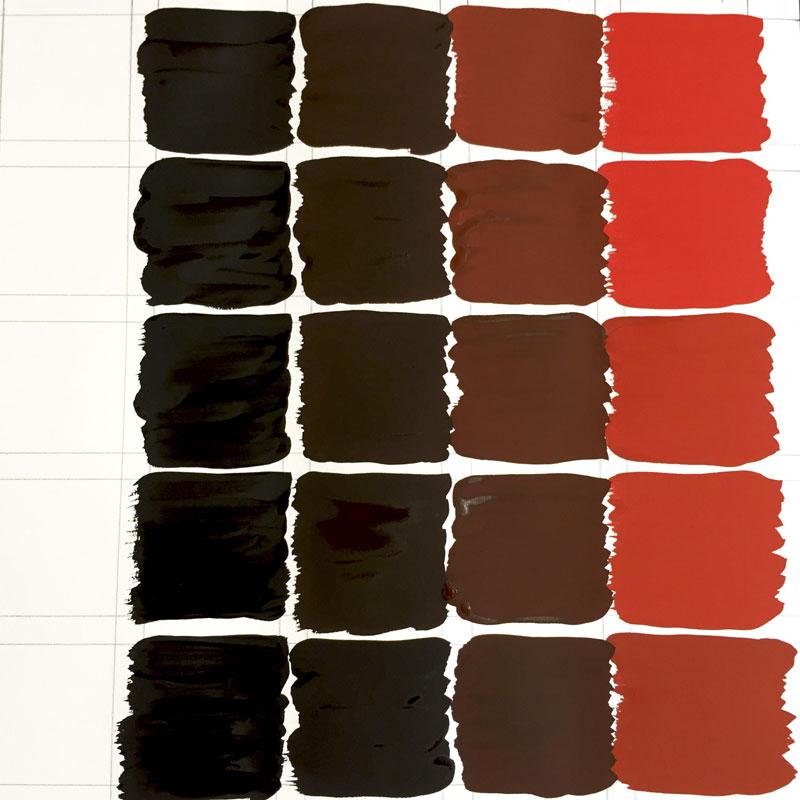 Kleurenthriller Barbara Collé licht-donkercontrast rood-zwart