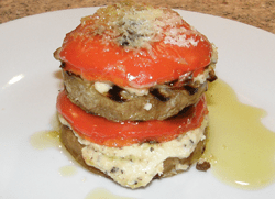 Aubergine,pepper and cheese stack