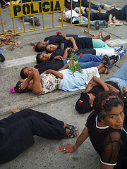 die-in at political protest in Colombia