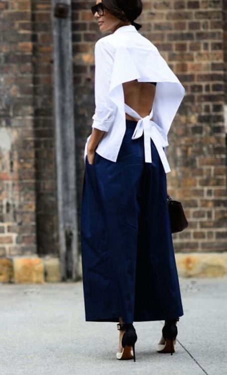 Image result for open back shirt street style