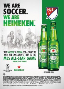 Heineken soccer UEFA Champions League Major League Soccer