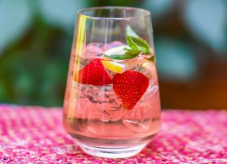strawberry rose spritzer