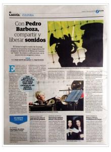 Press News, BarbozaMusic_El Día 17-01-17, 33 Festival de Música de Canarias, Pedro Barboza y Patchwork Ensamble, Improvisación Libre