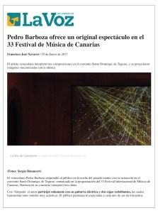 Press News- BarbozaMusic_La Voz Lanzarote 19-01-17, Pedro Barboza y el Patchwork Ensamble, Improvisación Libre, Impro Music, 33 Festival de Música de Canarias