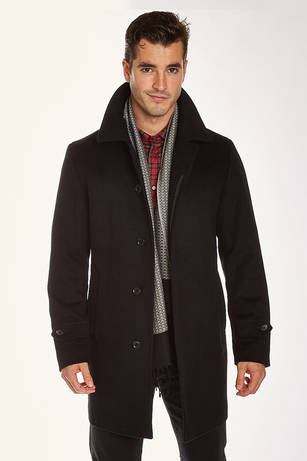 Barcelino men's long black wool coat