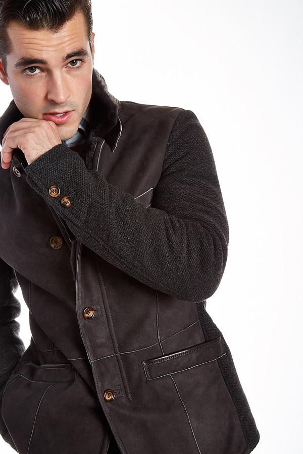 Barcelino men's warm leather jacket