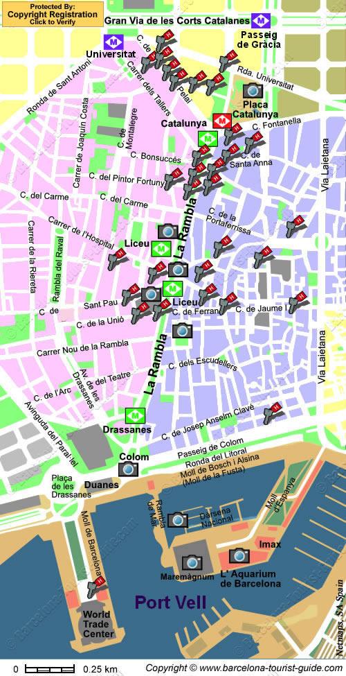 Mappa Delle Ramblas A Barcellona