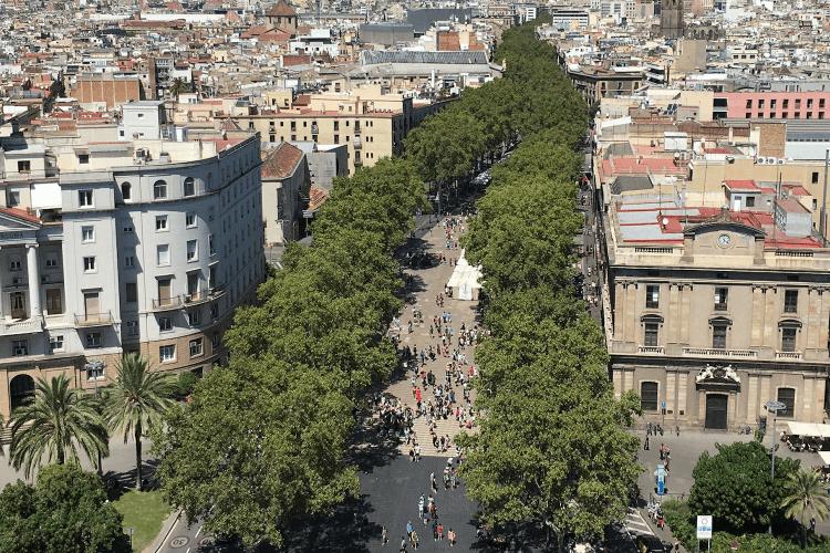 Langste straat Barcelona Ramblas