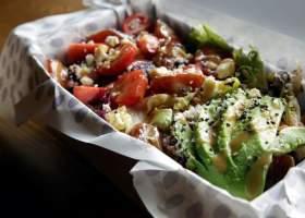 Eten, groen, rood, bakje