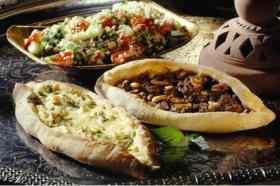 Verschillende gerechten restaurant Ugarit