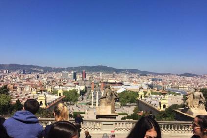 Uitzicht vanaf mnac op Plaça d'Espanya