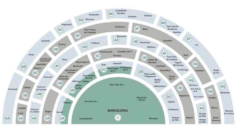 Kaartje, steden, halve cirkel