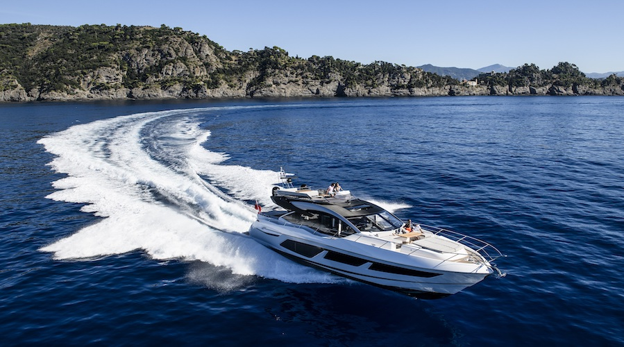 The Sunseeker 74 Sport Yacht sailing in Portofino