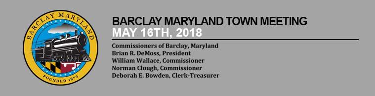 Barclay Town Meeting – May 16th 2018