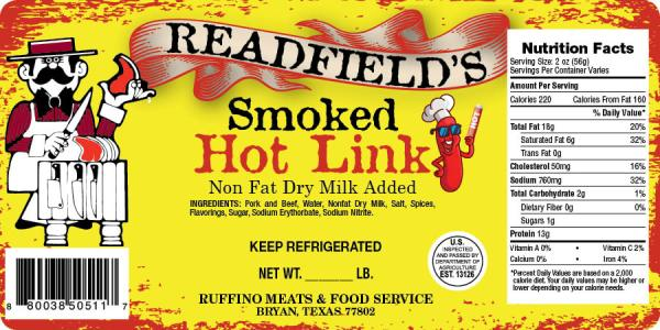 Hot Link Sausage Label-Barcode Southwest