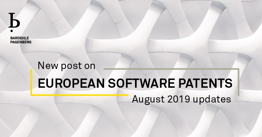 European software patents August 2019 updates