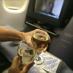 champagne toast in 1st class