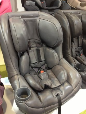 A car seat made in luxury, hand sewn leather