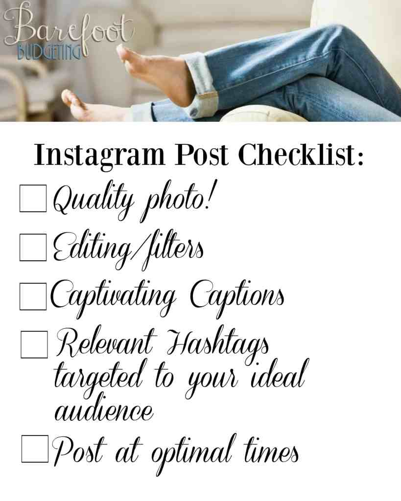 Instagram Post Checklist: if you're planning on growing your Instagram account, these tips are super helpful and this checklist is a great place to start!