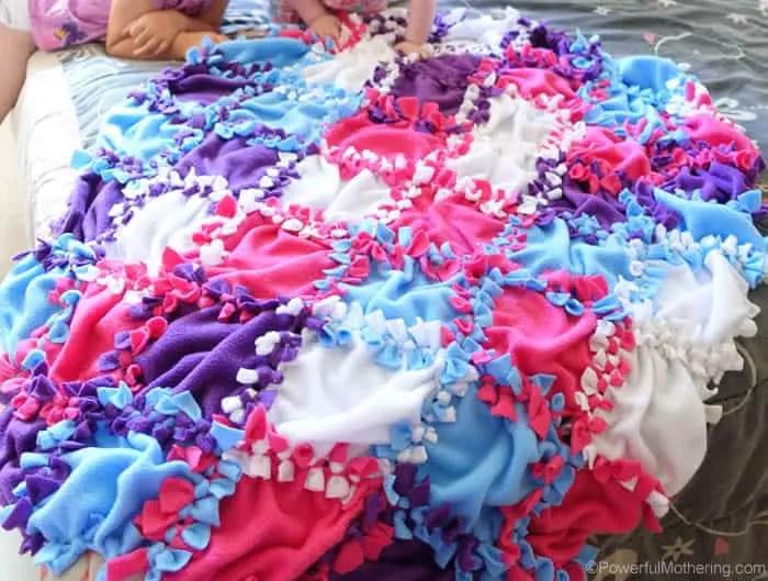 no sew patchwork fleece blanket