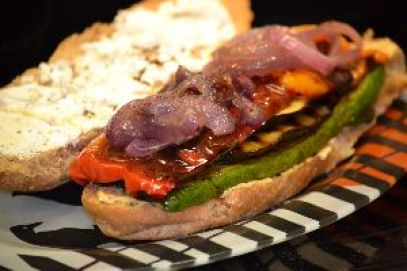 grilled veggies with goat cheese and hummas_small