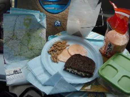 lunch chicken salad sandwich with Asian snacks_small