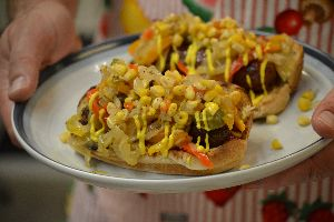 Gordon grilled bratz with onions peppers and corn relish_small