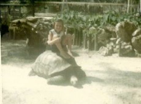 Julie riding a turtle 1967_small