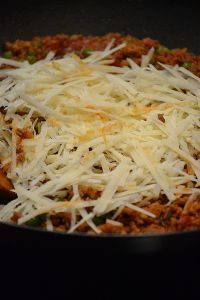 add the cheese to the warm timbale mixture to melt_small