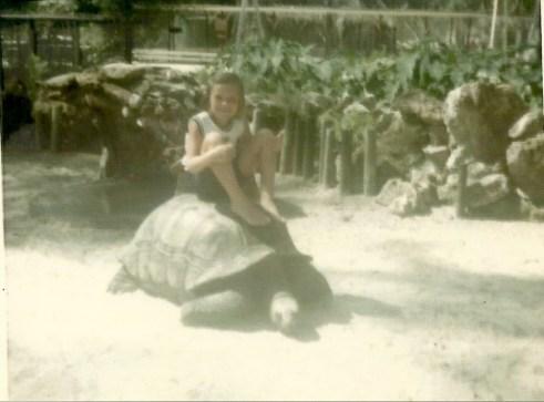 Julie riding a turtle 1967