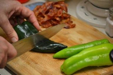 132 now you want to chop your pepeprs and bacon into small pieces_small