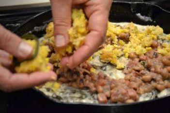 37 adding the cornbread topping_small