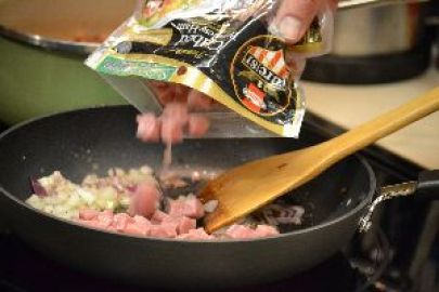 z add the cubed ham to the sauteeing onions_small