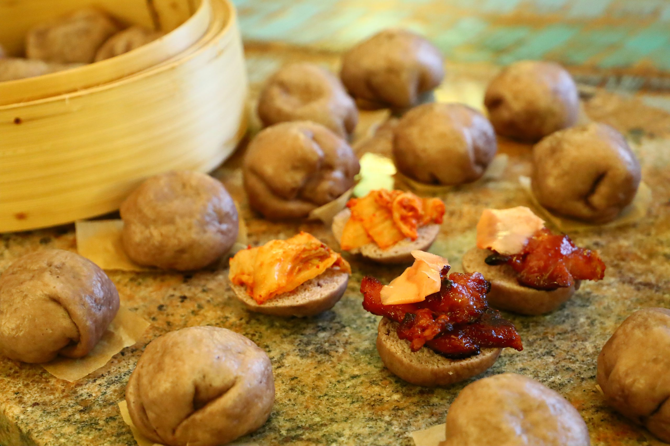 Our Purple Sweet Potato and Taro Stuffed Steamed Buns and Asian/Pacific Sliders