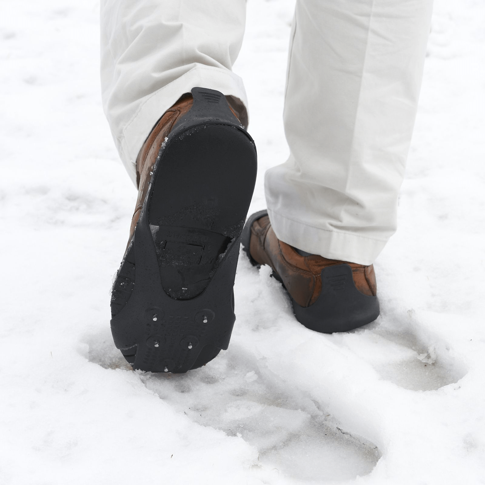 Bare Ground No Slip Ice Grip Shoes in Use