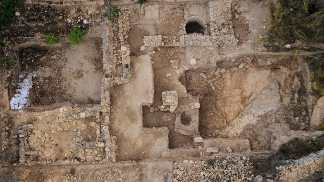 Overhead view of the Tel Motza excavation site.