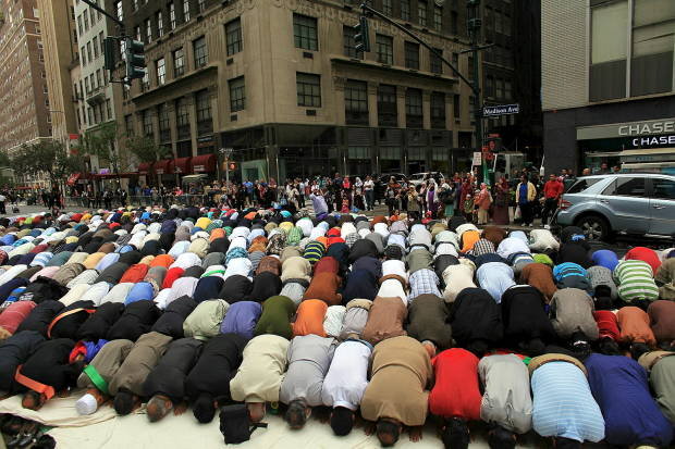 Muslims prostrate themselves in the middle of Madison Avenue in New York City every year on 'Muslim Day'