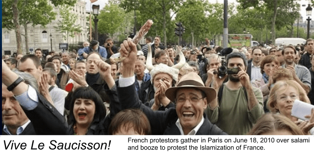 The French have taken to the streets to protest Islamization of their country as Le Pen's popularity soars